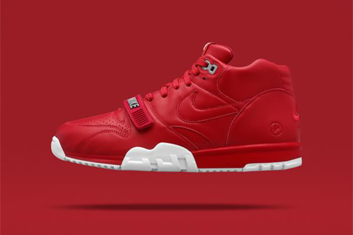 "detailed look 0aa9e c304b fragment design x NikeLab Air Trainer 1 ""Gym Red   Black"""