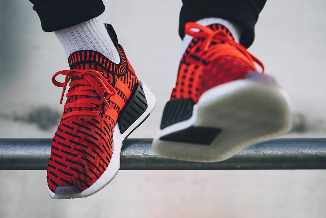 Adidas Nmd R2 Striped Core Red Black Young California