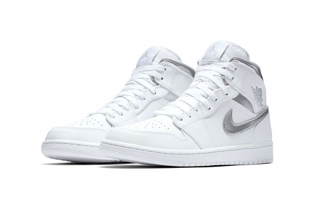 "new style f4d6e 81180 Dressed in a clean white and ""Metallic Silver"" color scheme, this style  features a white leather upper with perforated detailing on the toecap and  rubber ..."