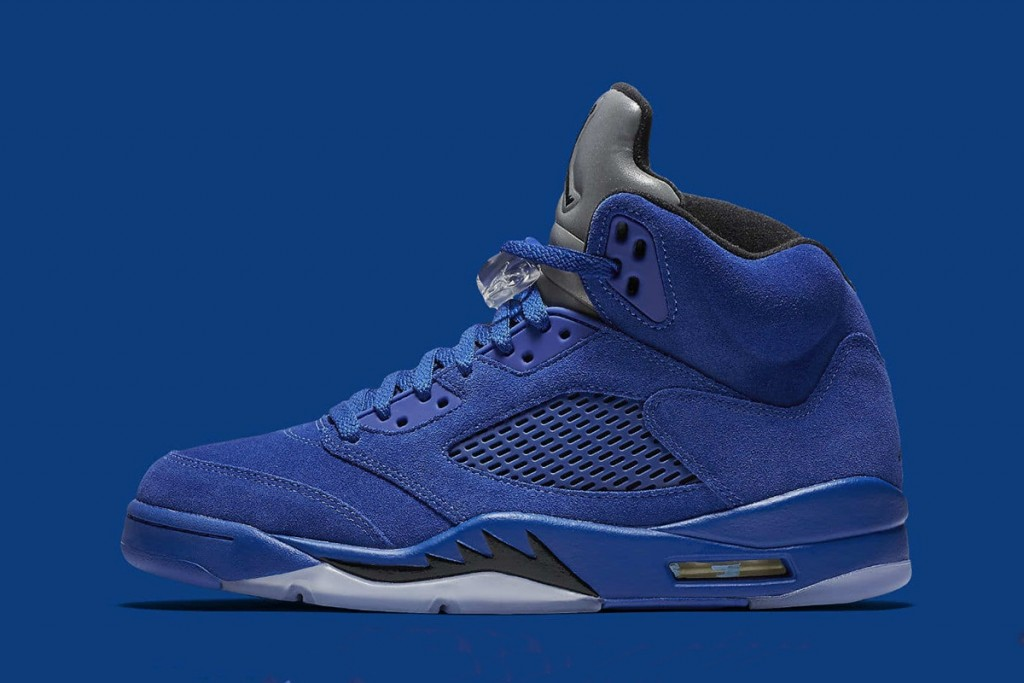"official photos 8dbc8 ff0ac Stepping up the whole family s sneaker game, Jordan Brand is set to release  the Air Jordan 5 Retro ""Flight Suit"" in a new ""Blue Suede"" make."