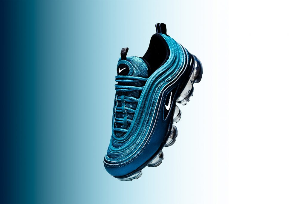 """a634b76a3e Nike's long list of hybrids continues with its Air VaporMax 97 model. This  time around women receive a special """"Metallic Dark Sea"""" iteration."""