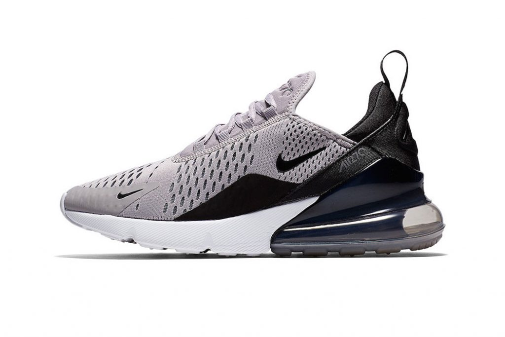 30dca35072 This neutral color scheme keeps it simple with a taupe grey mesh upper, a  black heel panel, a white forefoot sole unit and a translucent black Air  Max 270 ...