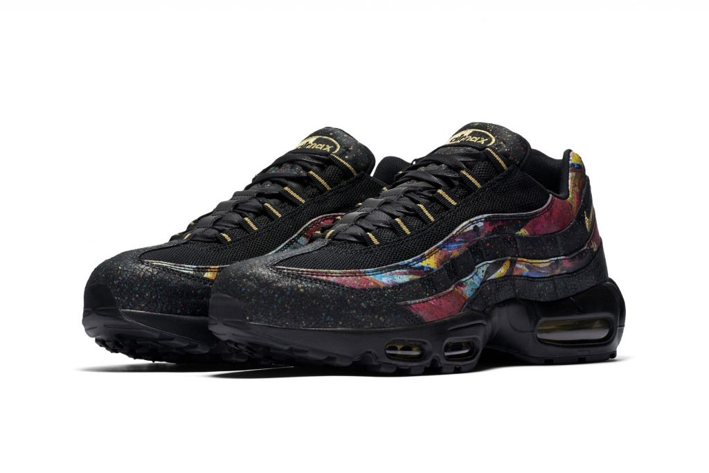 e212c23ebc This Air Max 95 opts for a dark-tone base via black mesh and leather panels,  as well as a black visible Air sole unit. All of this sets the stage for  the ...