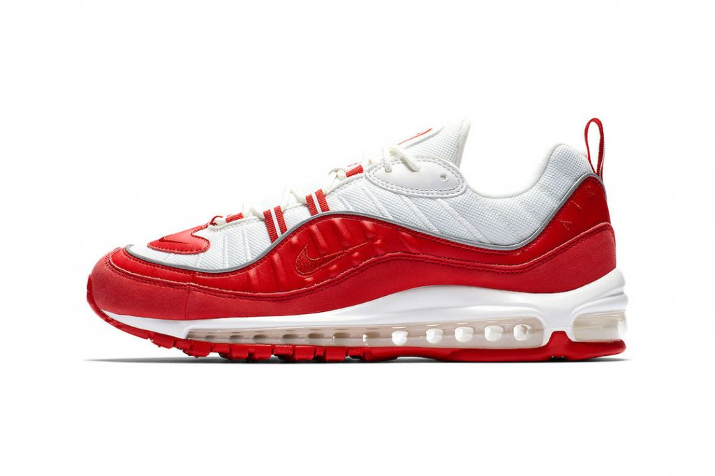 san francisco 70595 67b39 Starting from the top, this Air Max features a white mesh upper with red  leather paneling and red nubuck mudguards. The contrast two-tone look is  maintained ...
